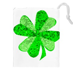 St Patricks Day Shamrock Green Drawstring Pouches (xxl) by Nexatart