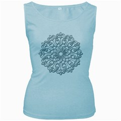 Scrapbook Side Lace Tag Element Women s Baby Blue Tank Top