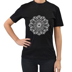 Scrapbook Side Lace Tag Element Women s T Shirt (black) (two Sided)