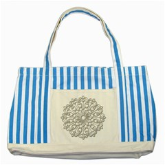 Scrapbook Side Lace Tag Element Striped Blue Tote Bag by Nexatart
