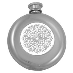 Scrapbook Side Lace Tag Element Round Hip Flask (5 Oz) by Nexatart