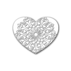Scrapbook Side Lace Tag Element Rubber Coaster (heart)  by Nexatart