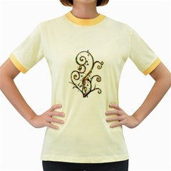 Scroll Magic Fantasy Design Women s Fitted Ringer T Shirts