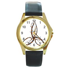 Abstract Shape Stylized Designed Round Gold Metal Watch by Nexatart