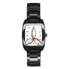 Abstract Shape Stylized Designed Stainless Steel Barrel Watch