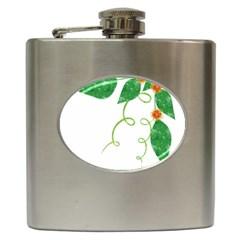 Scrapbook Green Nature Grunge Hip Flask (6 Oz) by Nexatart