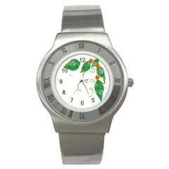 Scrapbook Green Nature Grunge Stainless Steel Watch