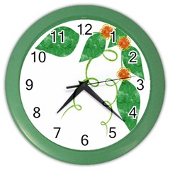 Scrapbook Green Nature Grunge Color Wall Clocks