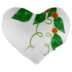 Scrapbook Green Nature Grunge Large 19  Premium Heart Shape Cushions by Nexatart