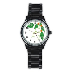Scrapbook Green Nature Grunge Stainless Steel Round Watch