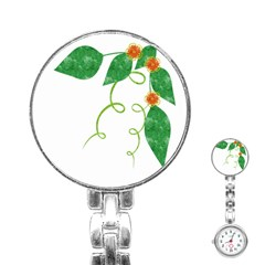 Scrapbook Green Nature Grunge Stainless Steel Nurses Watch by Nexatart