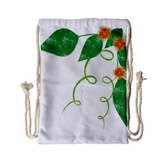 Scrapbook Green Nature Grunge Drawstring Bag (small)