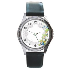 Scrapbook Element Lace Embroidery Round Metal Watch by Nexatart