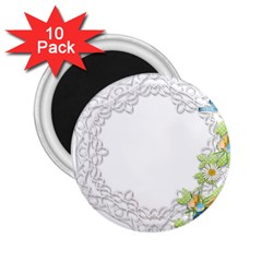 Scrapbook Element Lace Embroidery 2 25  Magnets (10 Pack)