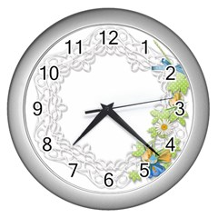 Scrapbook Element Lace Embroidery Wall Clocks (silver)  by Nexatart