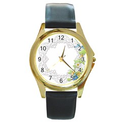 Scrapbook Element Lace Embroidery Round Gold Metal Watch