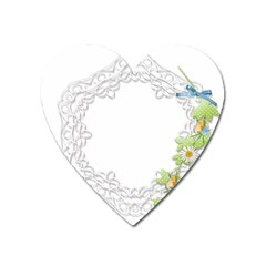Scrapbook Element Lace Embroidery Heart Magnet by Nexatart