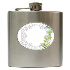 Scrapbook Element Lace Embroidery Hip Flask (6 Oz) by Nexatart