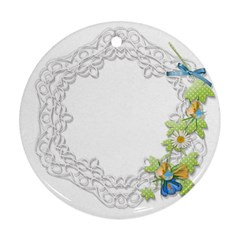 Scrapbook Element Lace Embroidery Round Ornament (two Sides) by Nexatart
