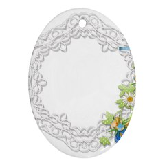 Scrapbook Element Lace Embroidery Oval Ornament (two Sides)
