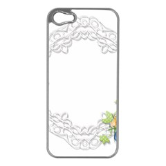 Scrapbook Element Lace Embroidery Apple Iphone 5 Case (silver)
