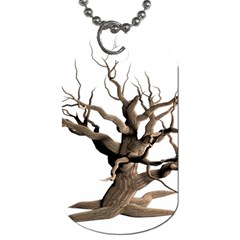 Tree Isolated Dead Plant Weathered Dog Tag (one Side)