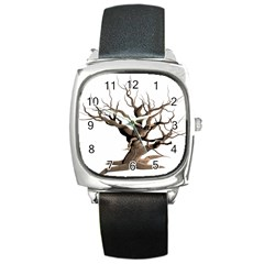 Tree Isolated Dead Plant Weathered Square Metal Watch by Nexatart