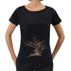 Tree Isolated Dead Plant Weathered Women s Loose Fit T Shirt (black)