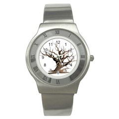 Tree Isolated Dead Plant Weathered Stainless Steel Watch by Nexatart