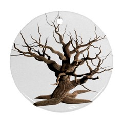 Tree Isolated Dead Plant Weathered Round Ornament (two Sides)
