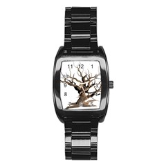 Tree Isolated Dead Plant Weathered Stainless Steel Barrel Watch