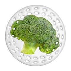 Broccoli Bunch Floret Fresh Food Round Filigree Ornament (two Sides) by Nexatart