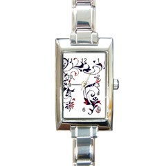Scroll Border Swirls Abstract Rectangle Italian Charm Watch