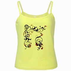 Scroll Border Swirls Abstract Yellow Spaghetti Tank