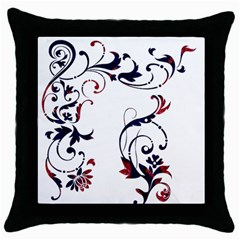 Scroll Border Swirls Abstract Throw Pillow Case (black)