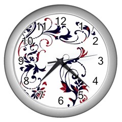 Scroll Border Swirls Abstract Wall Clocks (silver)