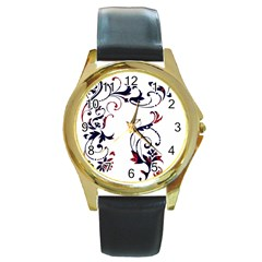 Scroll Border Swirls Abstract Round Gold Metal Watch