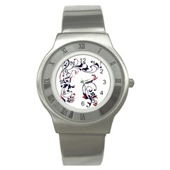 Scroll Border Swirls Abstract Stainless Steel Watch