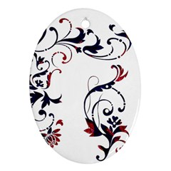 Scroll Border Swirls Abstract Oval Ornament (two Sides)
