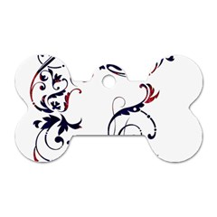 Scroll Border Swirls Abstract Dog Tag Bone (two Sides) by Nexatart