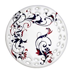 Scroll Border Swirls Abstract Round Filigree Ornament (two Sides)