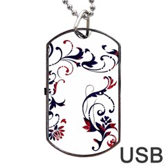 Scroll Border Swirls Abstract Dog Tag Usb Flash (two Sides) by Nexatart