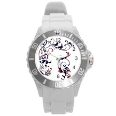 Scroll Border Swirls Abstract Round Plastic Sport Watch (l)