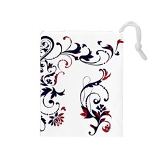 Scroll Border Swirls Abstract Drawstring Pouches (medium)