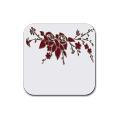 Scrapbook Element Nature Flowers Rubber Square Coaster (4 Pack)  by Nexatart