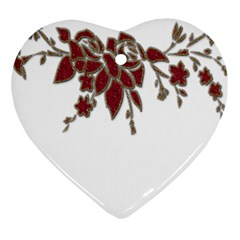 Scrapbook Element Nature Flowers Heart Ornament (two Sides)