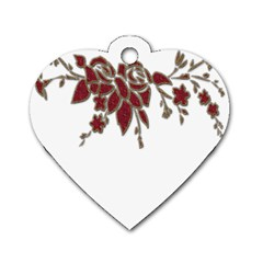 Scrapbook Element Nature Flowers Dog Tag Heart (two Sides)