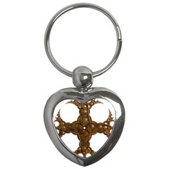Cross Golden Cross Design 3d Key Chains (heart)