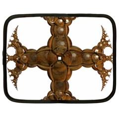 Cross Golden Cross Design 3d Netbook Case (xl)  by Nexatart