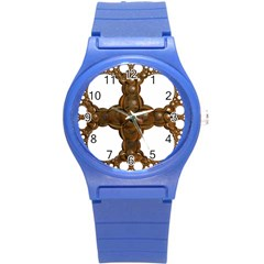 Cross Golden Cross Design 3d Round Plastic Sport Watch (s) by Nexatart